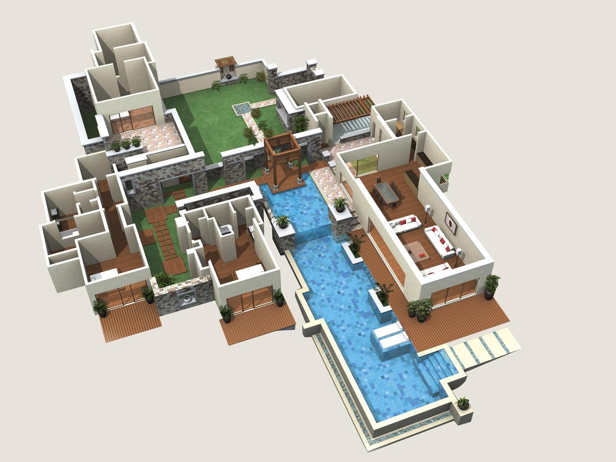 Plan de maison de luxe moderne 3d - Idées de travaux