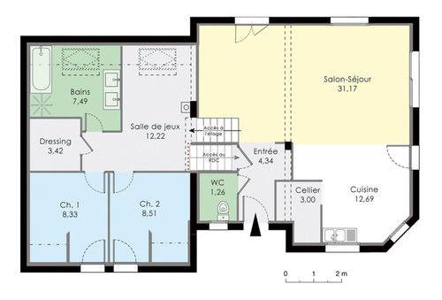 Plan de maison 2 niveaux gratuit id es de travaux for Maison demi niveau toit plat