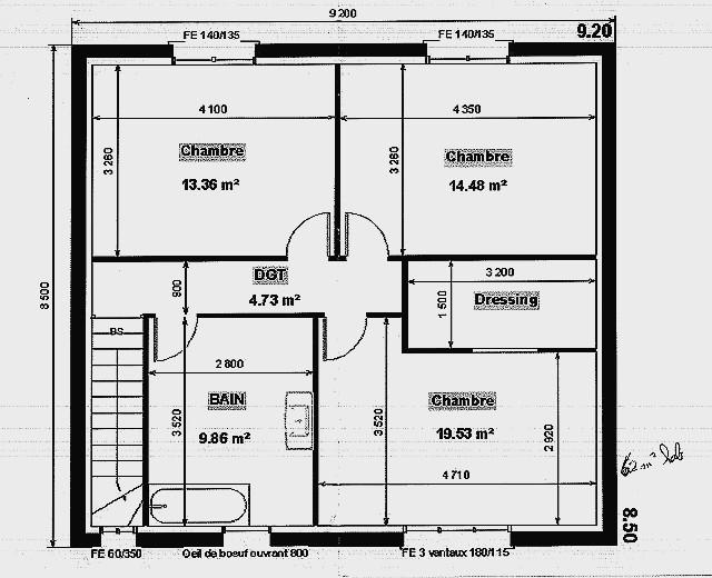 plan de maison a etage en longueur - idées de travaux