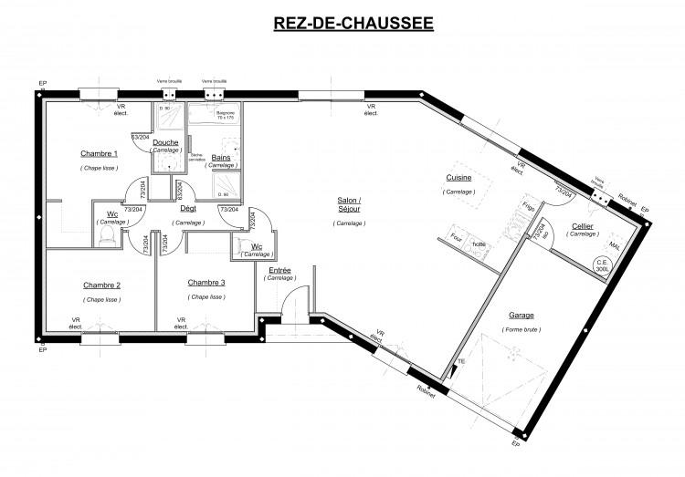 Plan De Maison Plain Pied 3 Chambres En V