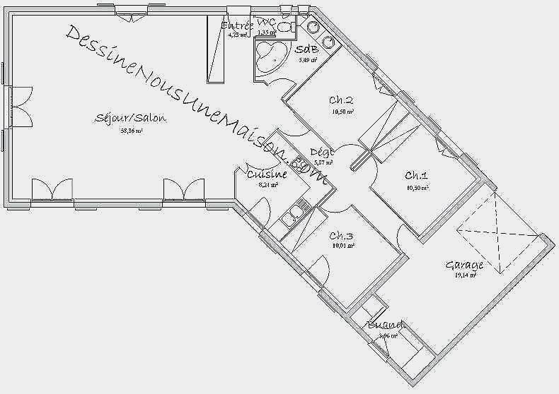 Plan de maison en v plain pied 2 chambres id es de travaux - Plan de maison en v plain pied ...