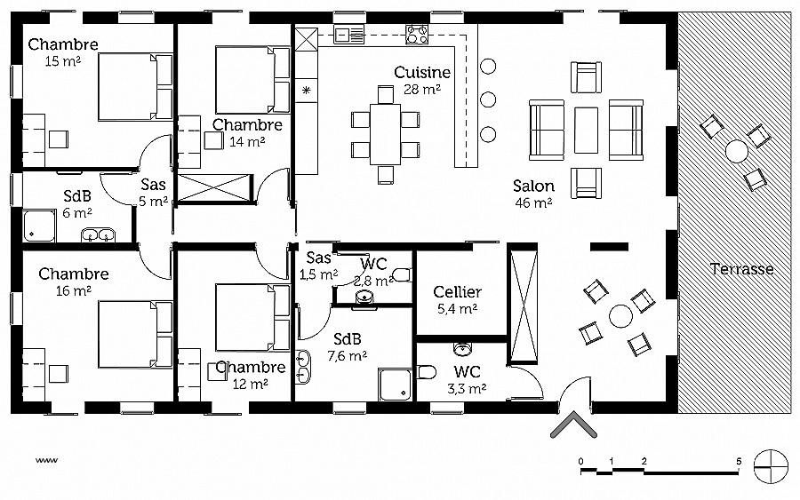 Plan de maison gratuit 4 chambres en pdf id es de travaux - Plan de maison gratuit 4 chambres ...