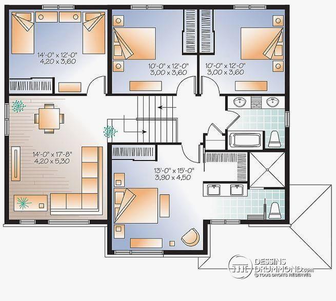 Plan de maison gratuit avec 4 chambres id es de travaux - Plan de maison gratuit 4 chambres ...