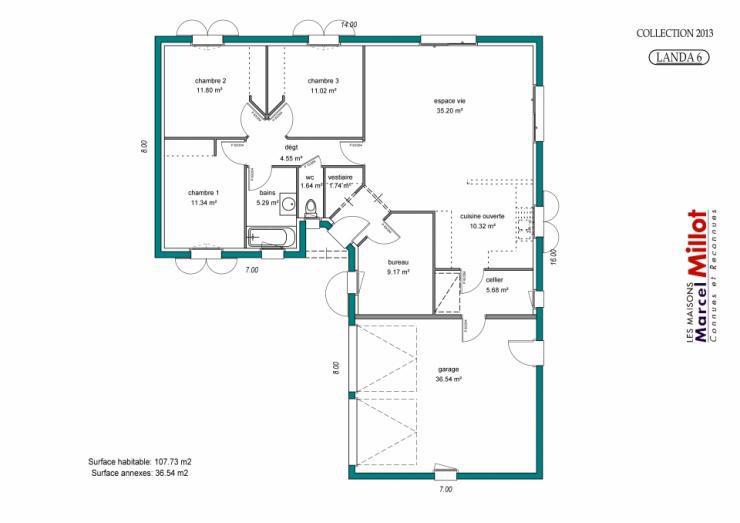 Plan de maison plain pied en forme u ventana blog - Plan de maison en v plain pied ...