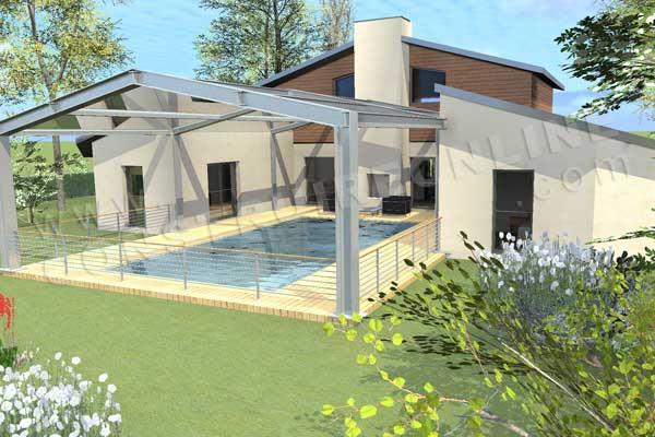 Plan de maison en u moderne - Idées de travaux 4d55a42f49cd