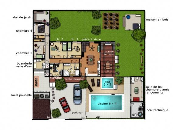 Plan de maison dessin id es de travaux - Plan de maison original ...