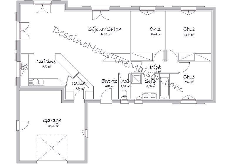 Plan de maison plain pied 3 chambres 110m2 id es de travaux - Plan maison 110m2 plain pied ...