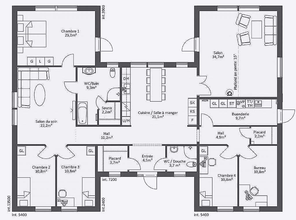 Plan de maison 4 chambres plain pied gratuit ventana blog - Plan maison de plain pied gratuit ...