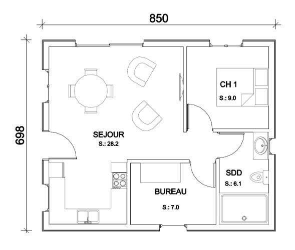 Plan de maison petite id es de travaux - Petite maison de plain pied ...