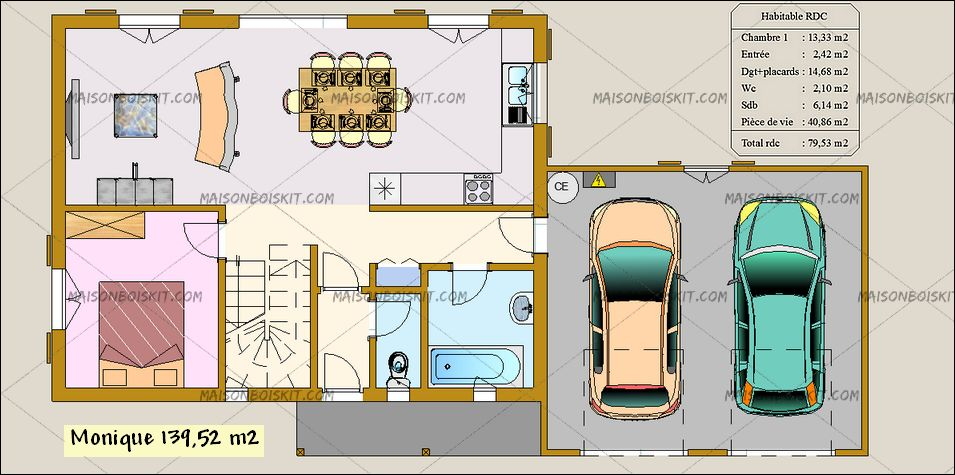 Plan d 39 une maison de 100m2 avec garage id es de travaux - Plan de maison gratuit 4 chambres ...