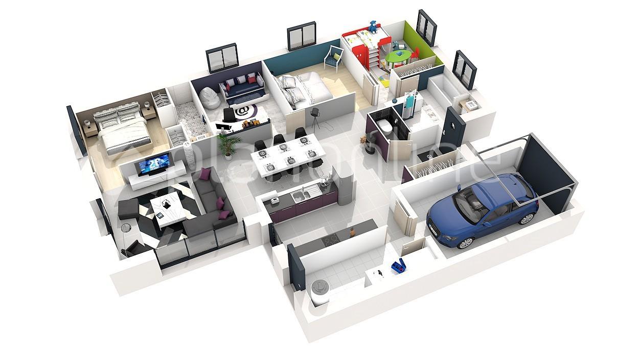 Plan 3d maison plain pied 5 chambres id es de travaux - Plan maison 5 chambres gratuit ...