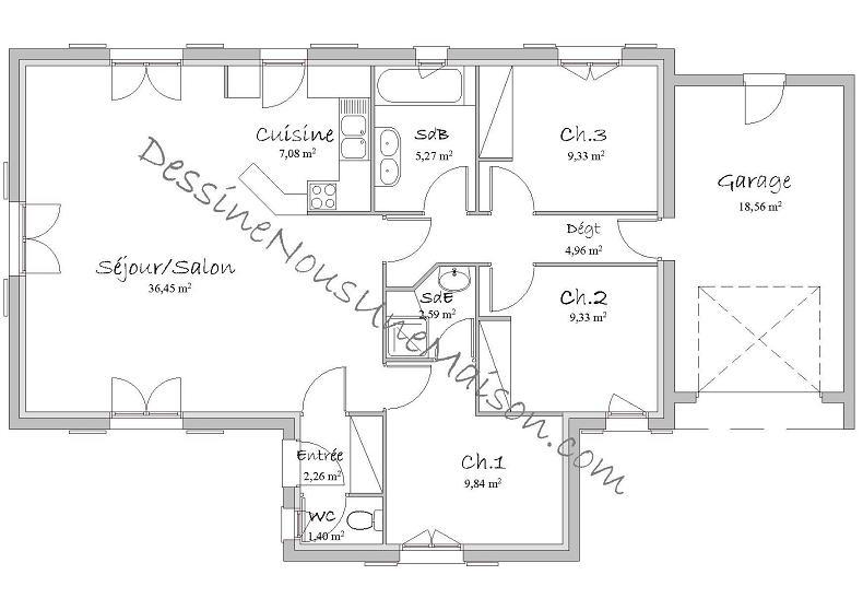 Charming Plan Maison De Plein Pied Gratuit
