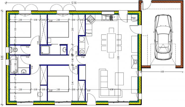 Plan de maison 100m2 plein pied