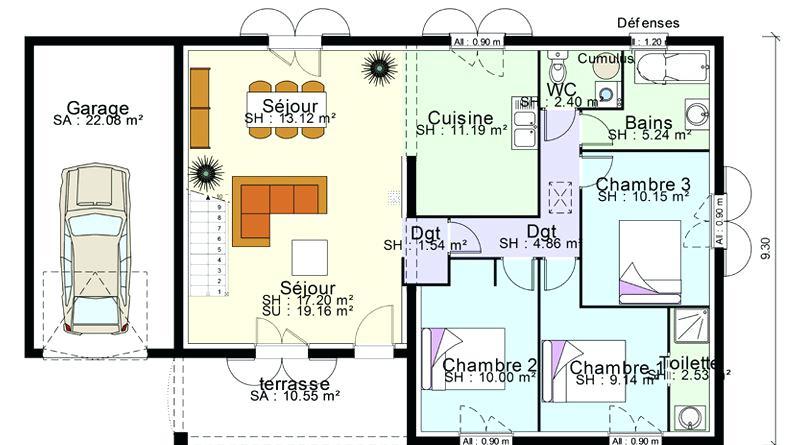 plan de maison 100m2 plein pied 2 chambres id es de travaux. Black Bedroom Furniture Sets. Home Design Ideas