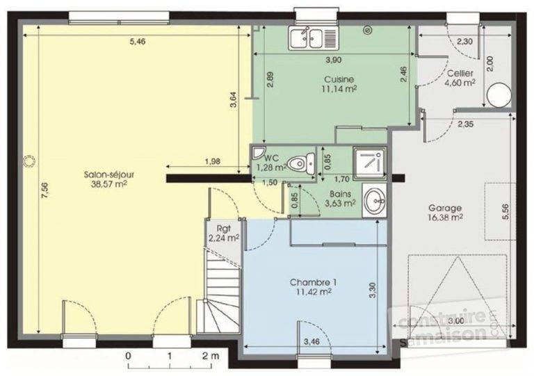 Plan de maison de 120m2 avec garage - Idées de travaux
