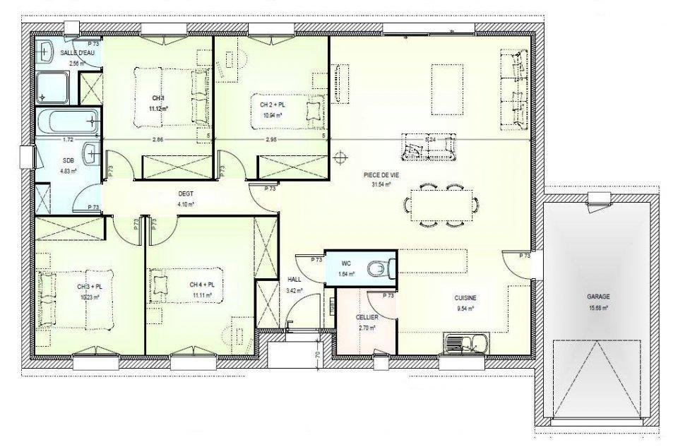 Plan Maison 4 Chambres Plain Pied 120m2 Id 233 Es De Travaux