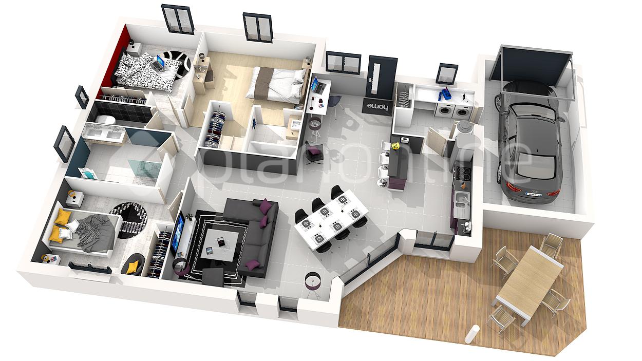 Plan de maison a etage 4 chambres 3d id es de travaux - Plan etage 4 chambres ...