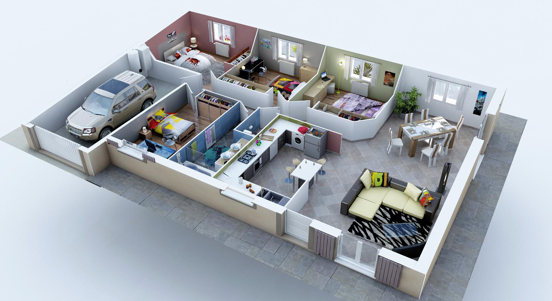 Plan de maison plain pied en l 3d - Idées de travaux