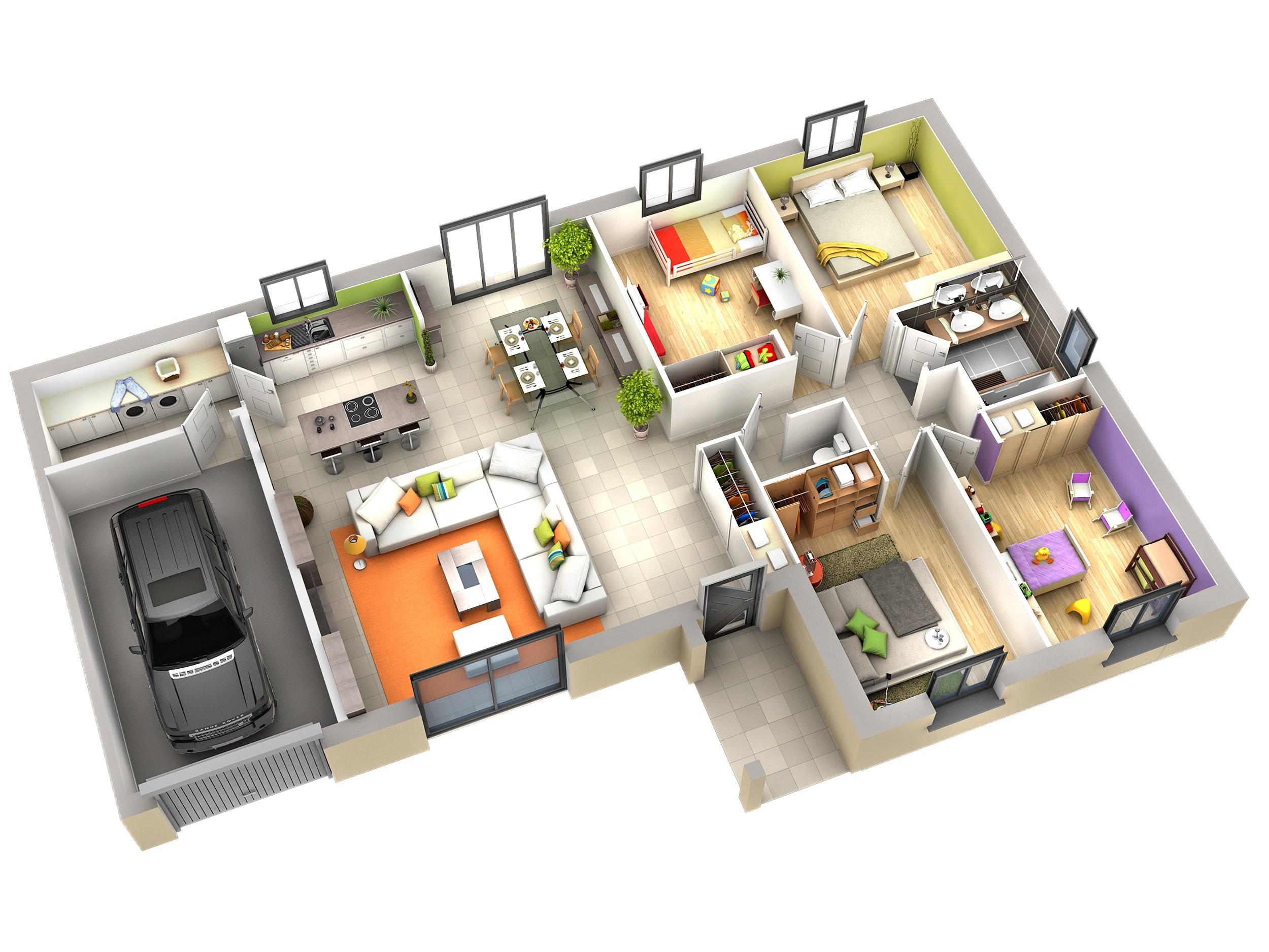 Plan dinterieur de maison plain pied