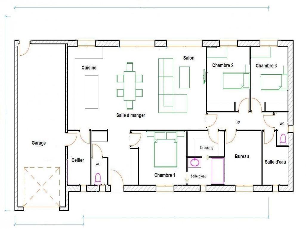 Plan de maison plain pied 4 chambres avec garage en l - Plan de maison en l avec 4 chambres ...