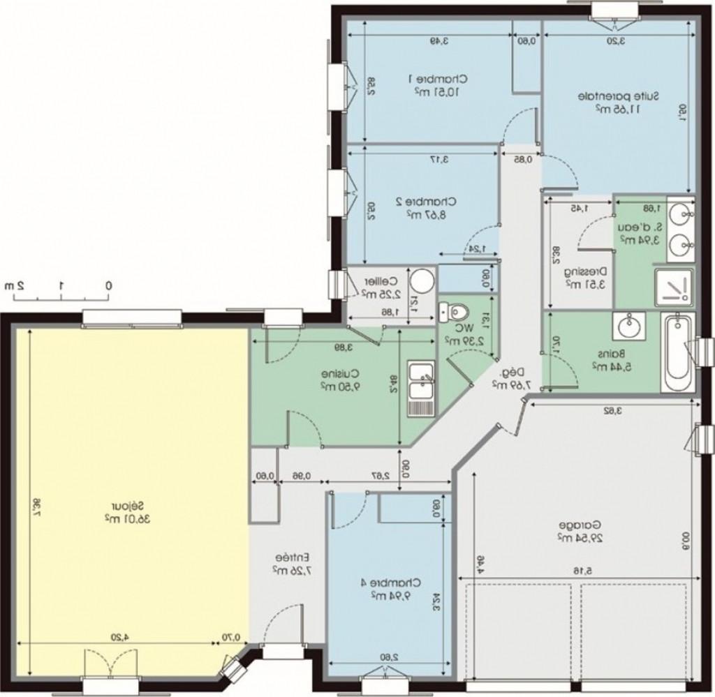 Plan De Maison Plain Pied 3 Chambres Avec Suite Parentale
