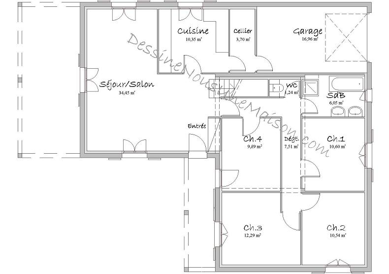 plan de maison gratuit avec dimensions id es de travaux. Black Bedroom Furniture Sets. Home Design Ideas