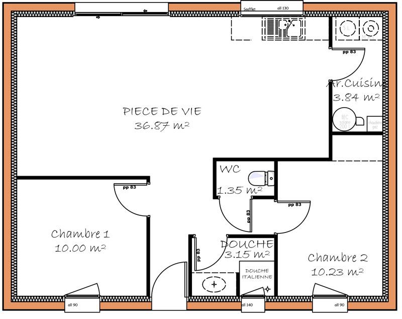 plan de petite maison de 50m2 id es de travaux. Black Bedroom Furniture Sets. Home Design Ideas