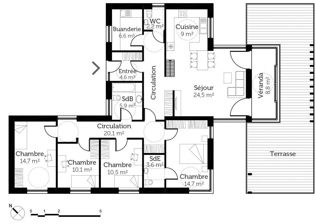 Great Plan De Maison 6 Chambres Plain Pied Gratuit