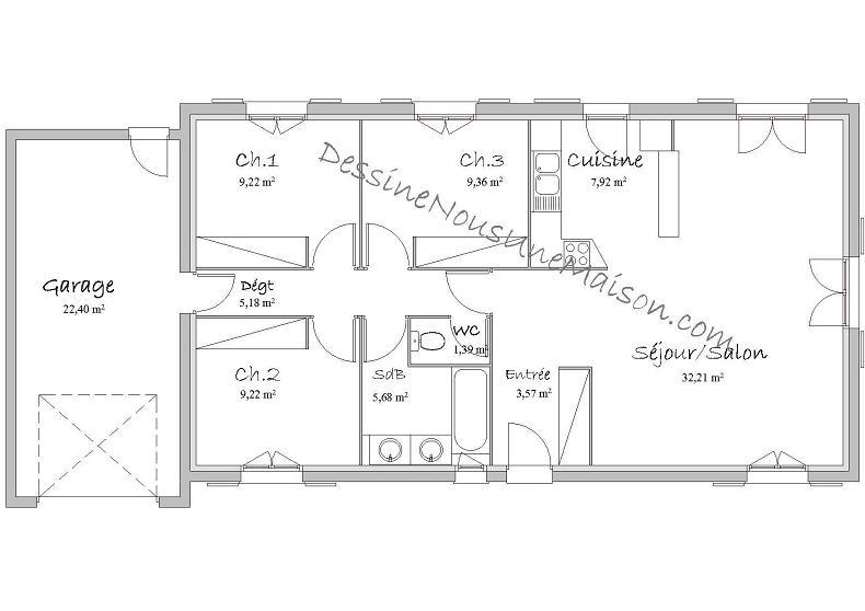 plan de maison 90m2 plain pied Plan de maison 90m2 plein pied