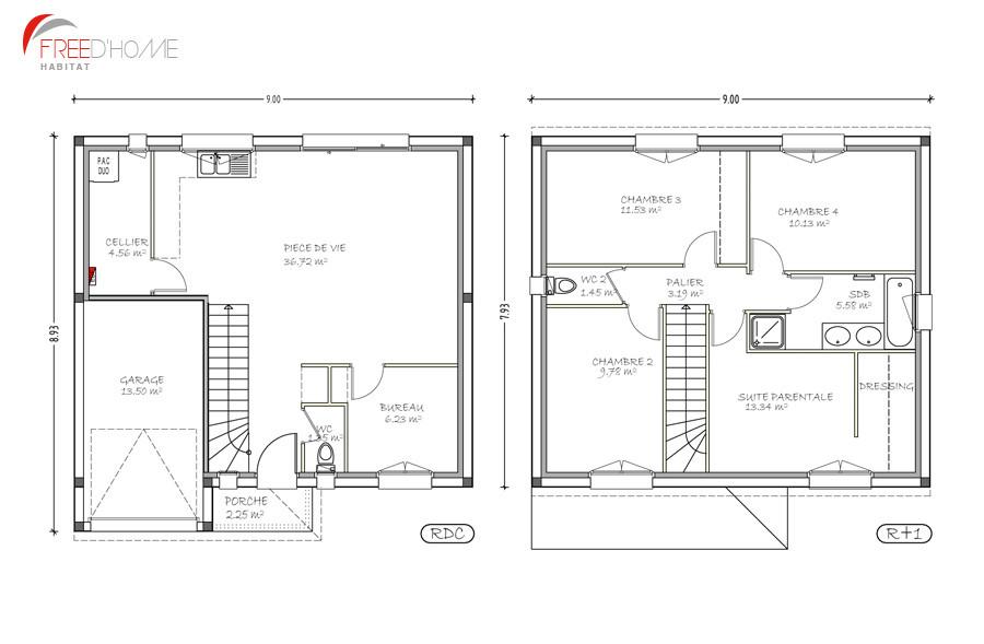 Plan de maison a etage avec garage id es de travaux - Plan maison avec etage ...