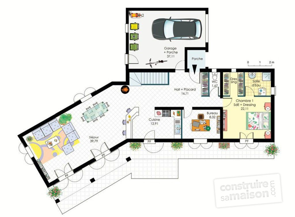 Plan de maison provencale contemporaine - Idées de travaux