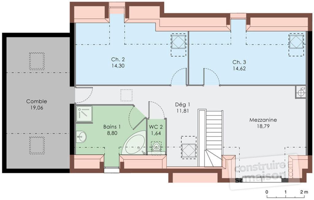 Exemple de plan de maison avec mezzanine - Idées de travaux