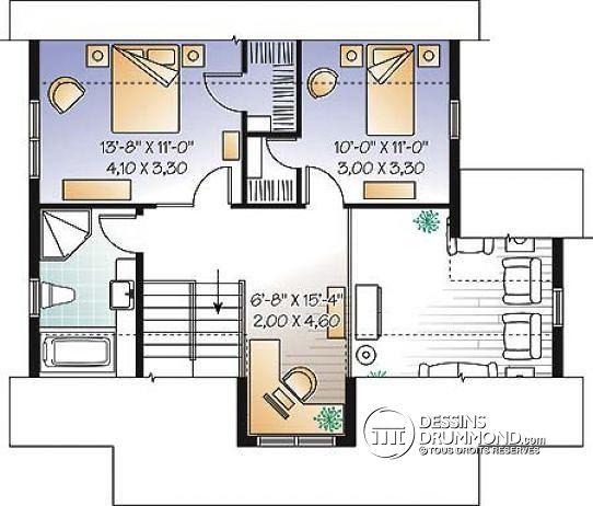 Plan de maison avec mezzanine 4 chambres - Idées de travaux