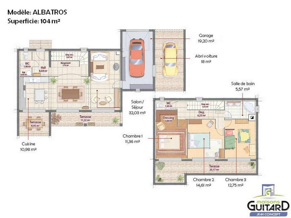 Plan de maison contemporaine cubique