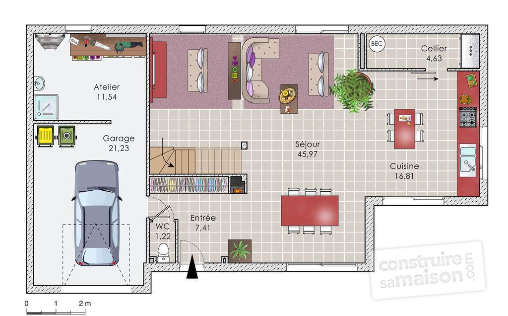 Plan de maison entr e est id es de travaux - Plan maison entree sud ...