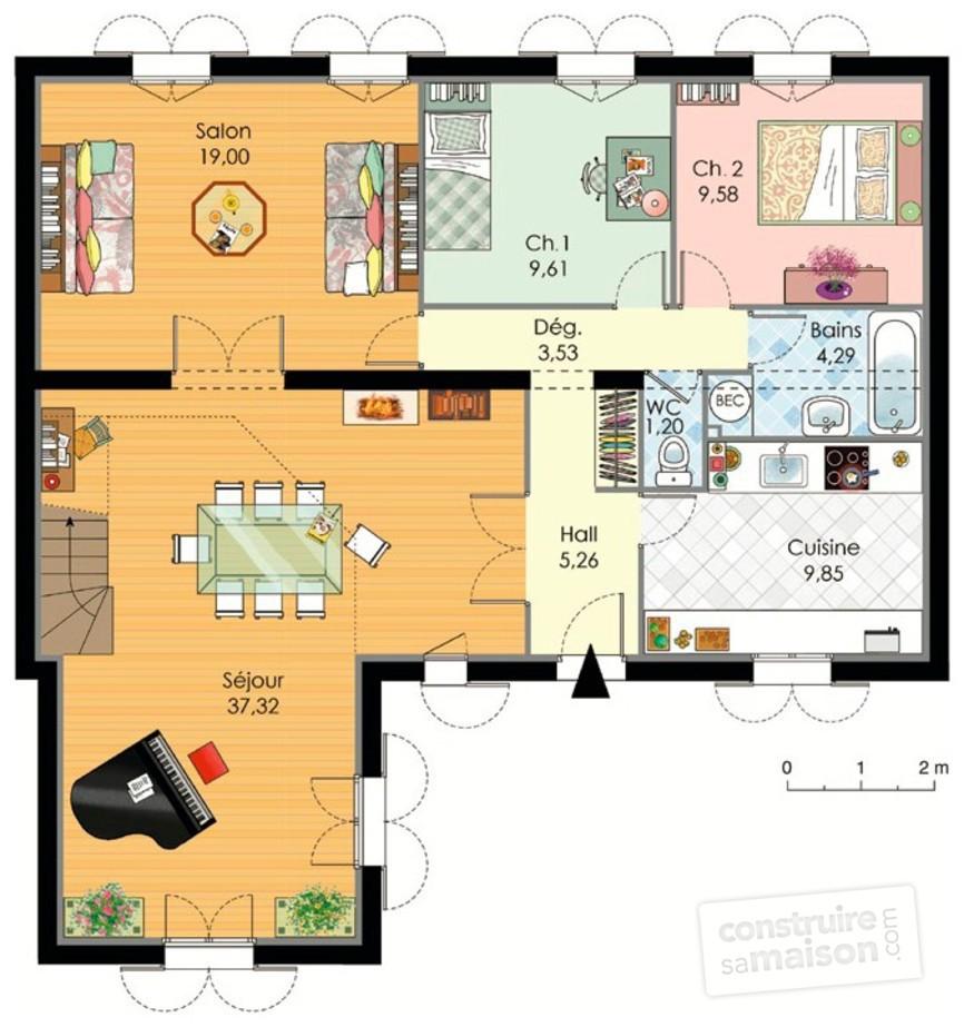 plan maison 2 chambres salon cuisine salle de bain id es de travaux. Black Bedroom Furniture Sets. Home Design Ideas