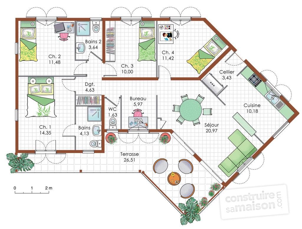 22e4084173a795 Plan de maison plain pied en y - Idées de travaux