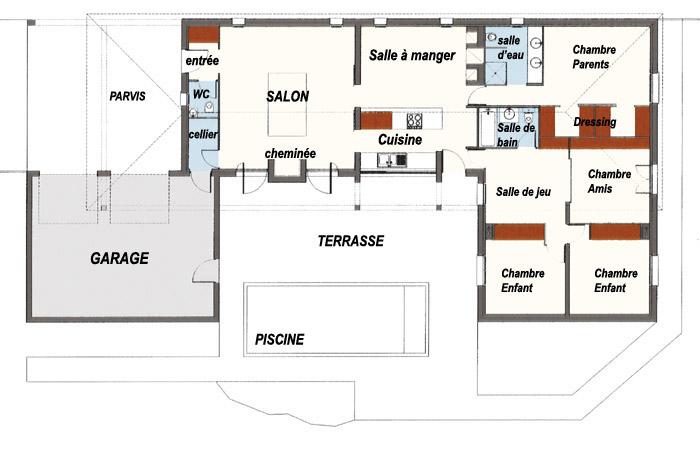 Plan de maison interieur plain pied gratuit - Idées de travaux