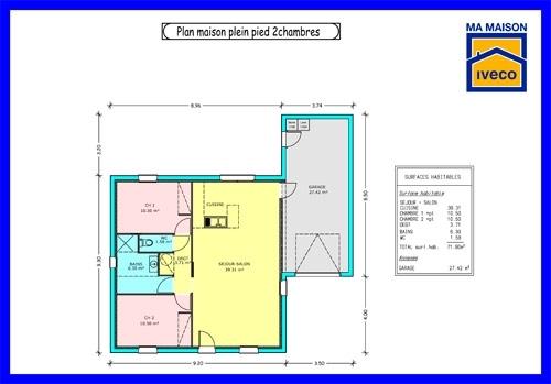 Plan de maison plain pied en l 2 chambres