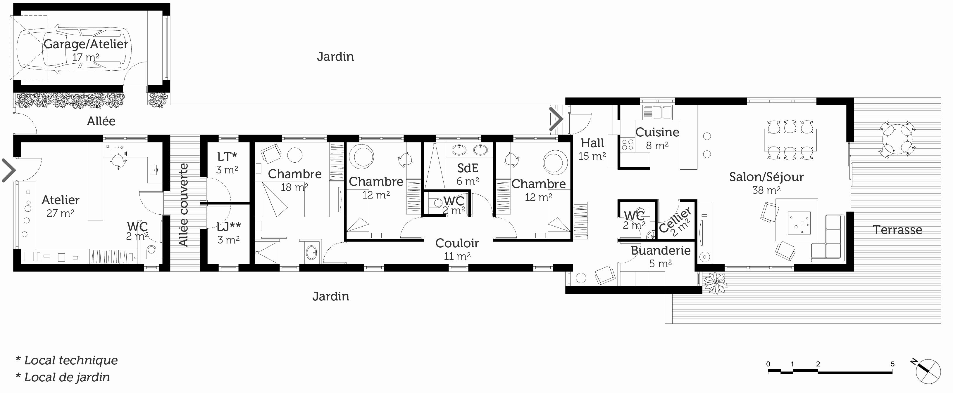 Plan maison 2 chambres en longueur