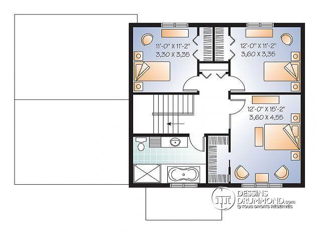 Plan maison 2 chambres l 39 tage id es de travaux - Plan maison 3 chambres etage ...