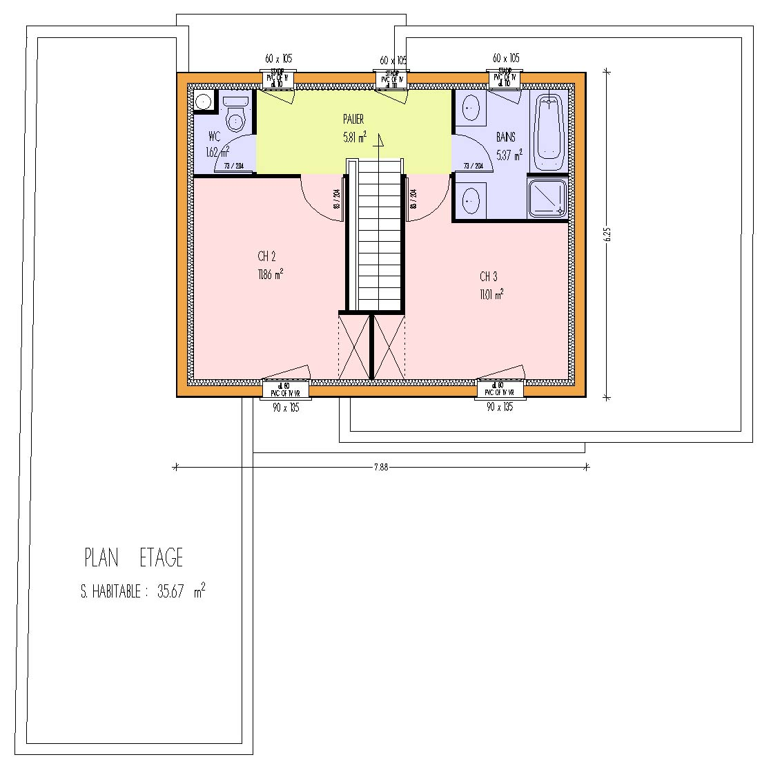 Plan maison 2 chambres rdc 2 chambres etage - Idées de travaux