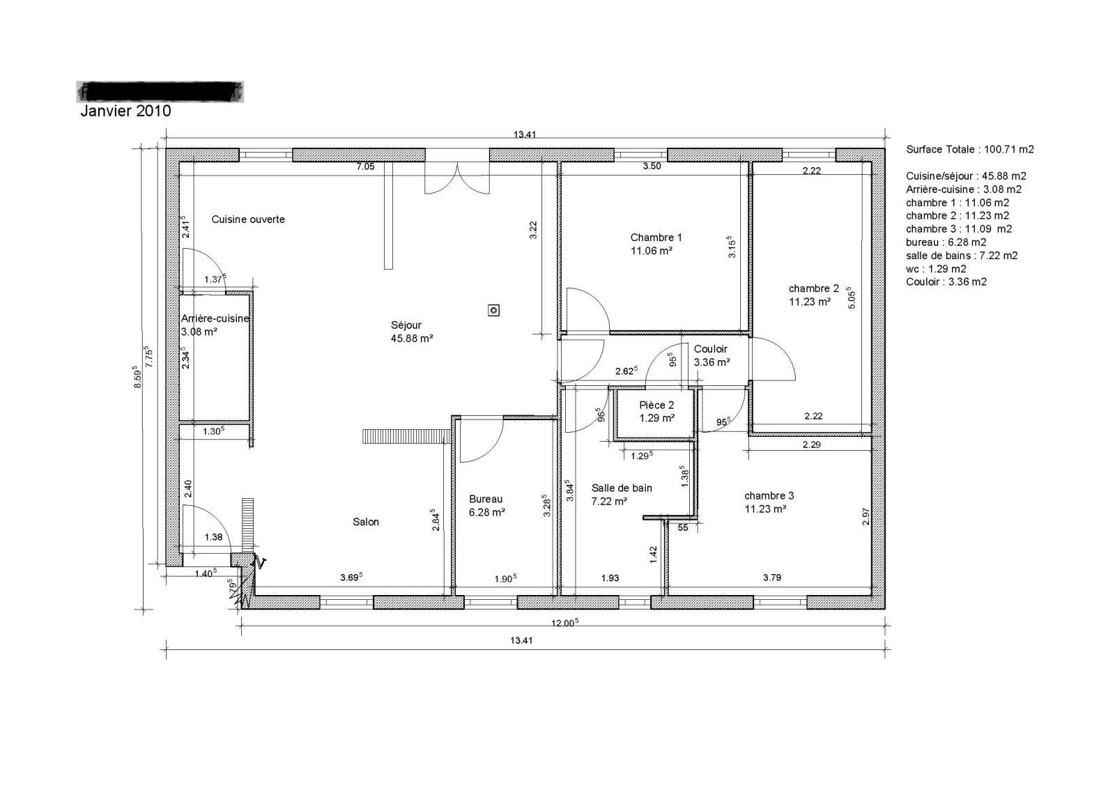 Plan rez de chauss e maison 100m2 id es de travaux - Plan de maison rez de chaussee ...