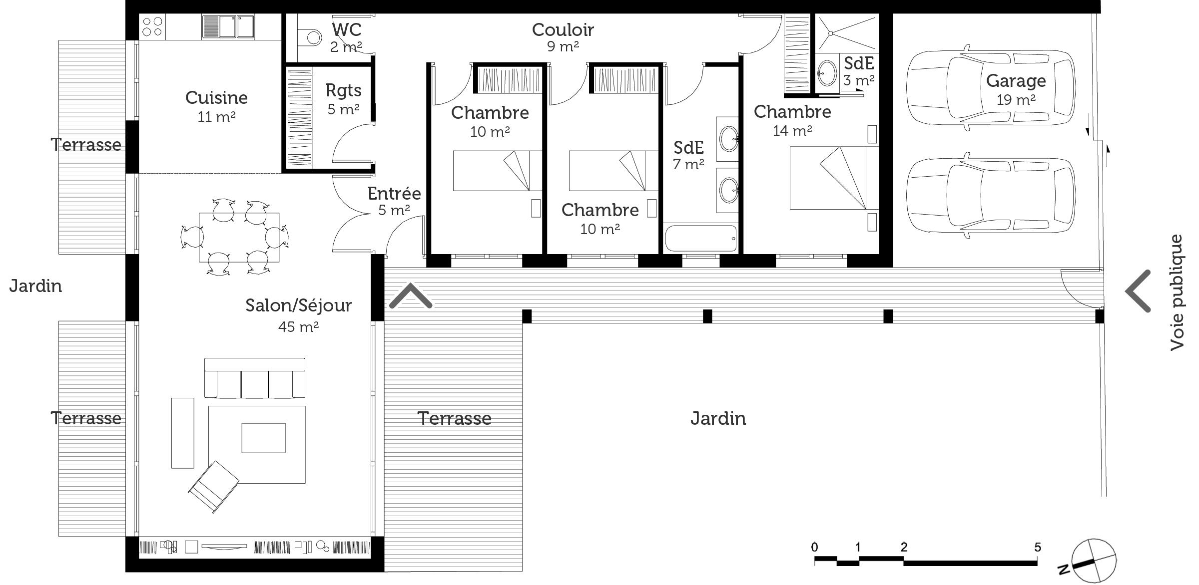 Plan de maison mitoyenne maison pierre