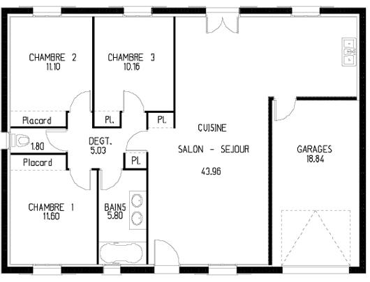 plan maison moins de 100 000 euros id es de travaux. Black Bedroom Furniture Sets. Home Design Ideas