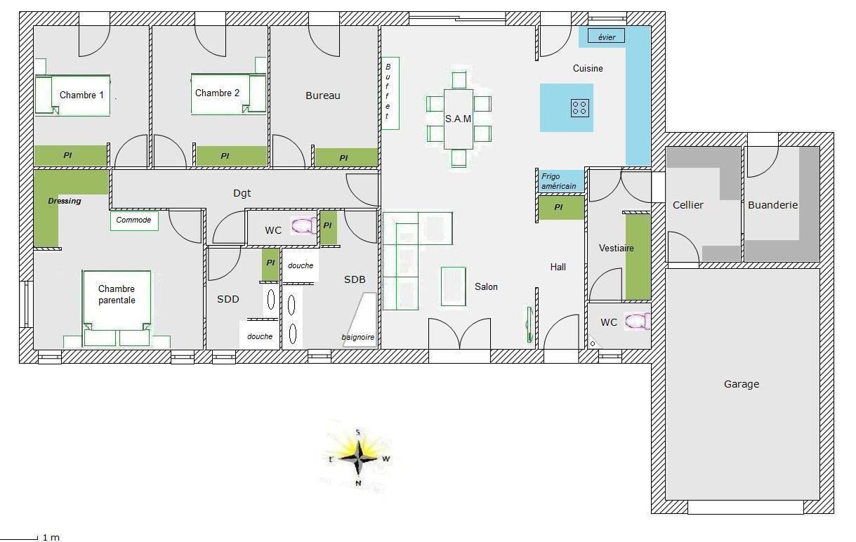 Plan de maison 150m2 4 chambres id es de travaux - Plan maison 5 chambres gratuit ...