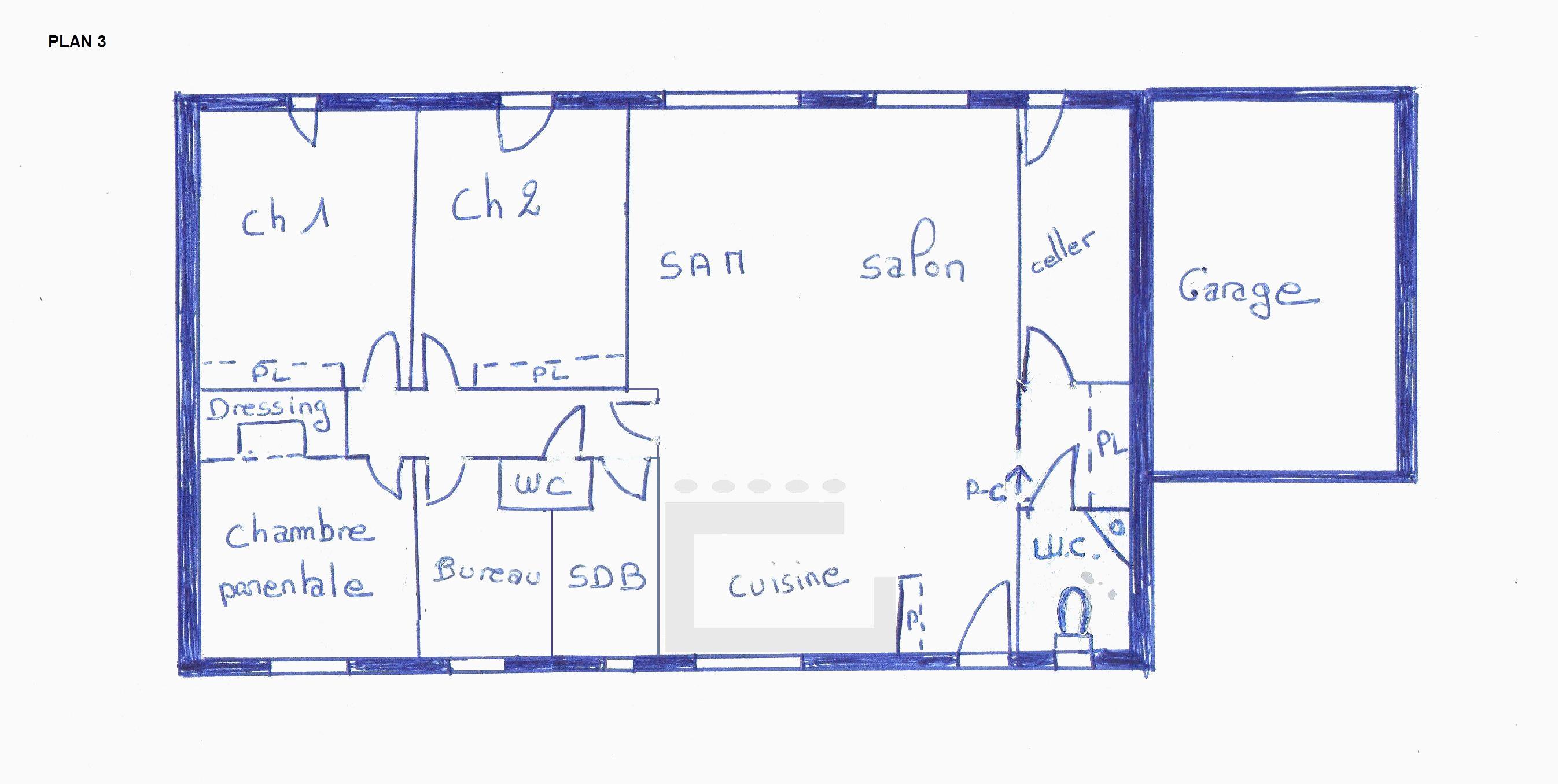 Plan de maison plain pied 3 chambres 80m2 id es de travaux - Plan maison 110m2 plein pied ...