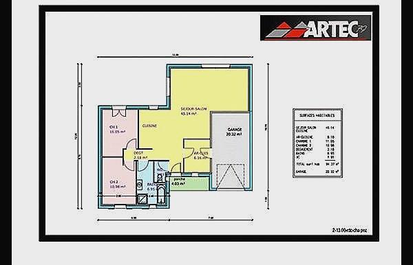 Plan de maison de 2 chambres salon