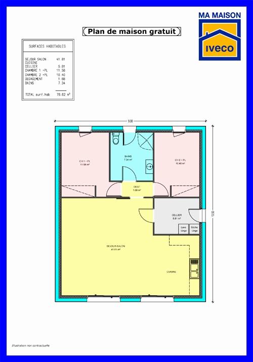 Plan maison plain pied 2 chambres en l