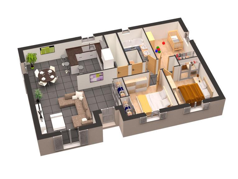 Plan 3d Maison Plain Pied 4 Chambres Idées De Travaux